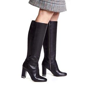 Michael Kors Black Block Heel Knee High Boots 6.5M